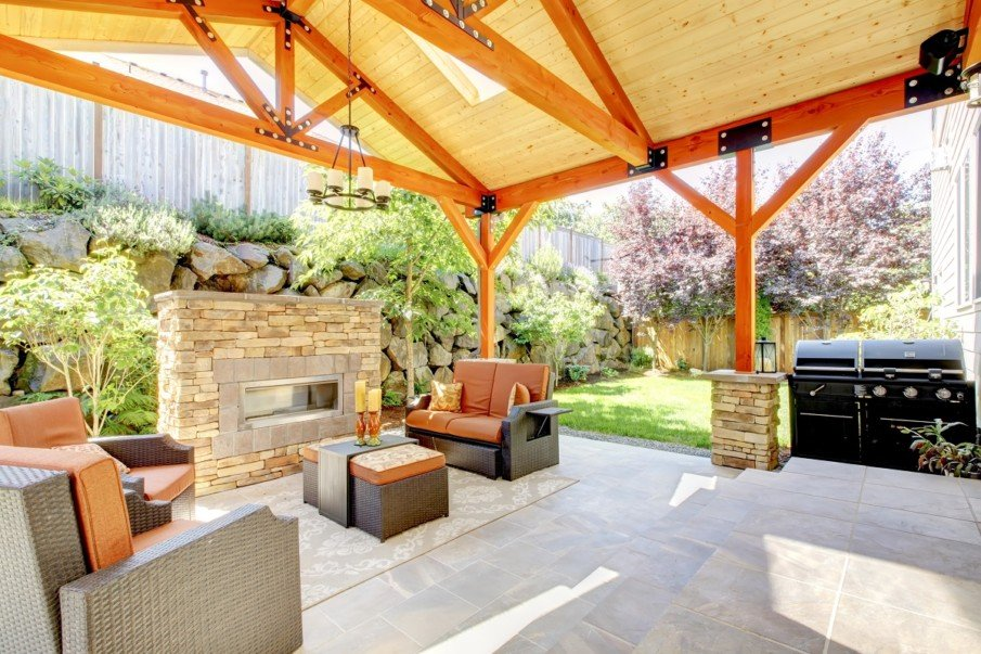 Covered patio living space ideas