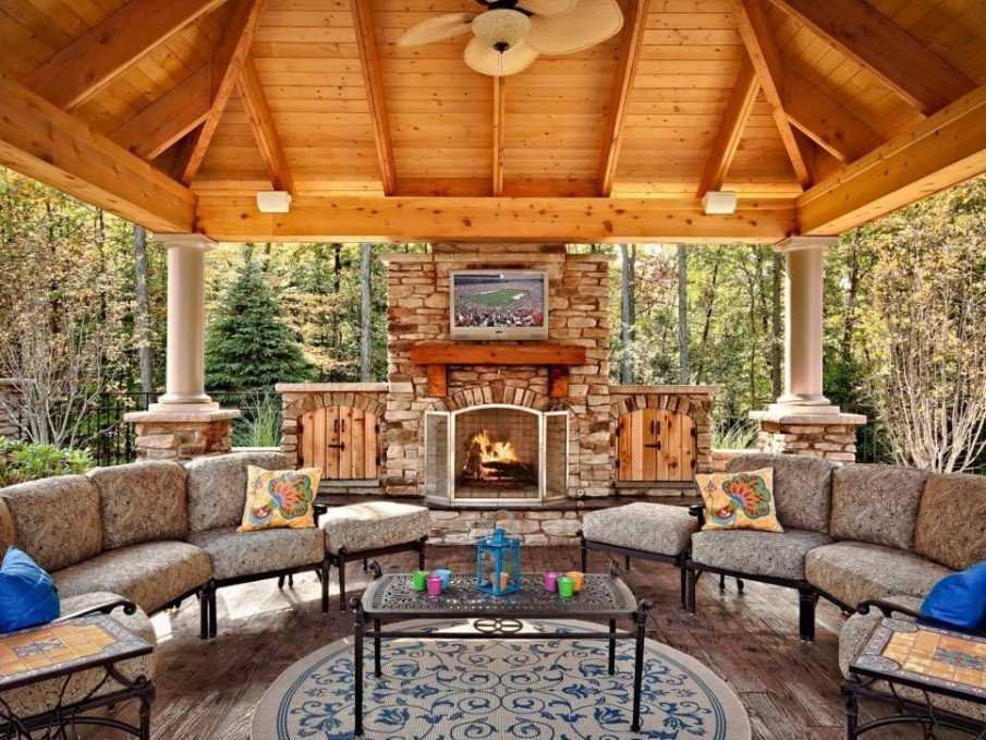 Covered patio with fireplace designs