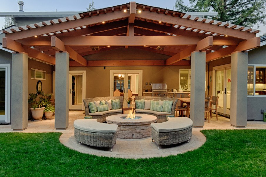 Covered patio with fireplace ideas