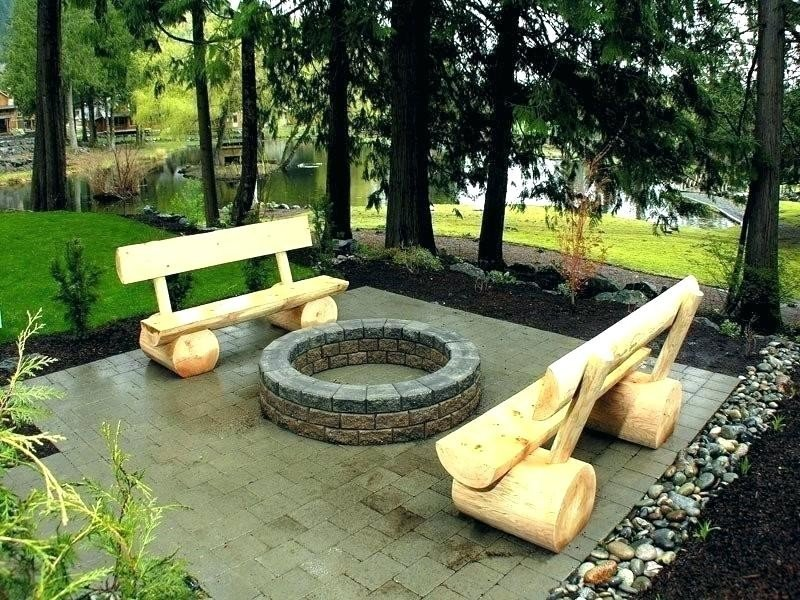 Creative fire pit and wood benches