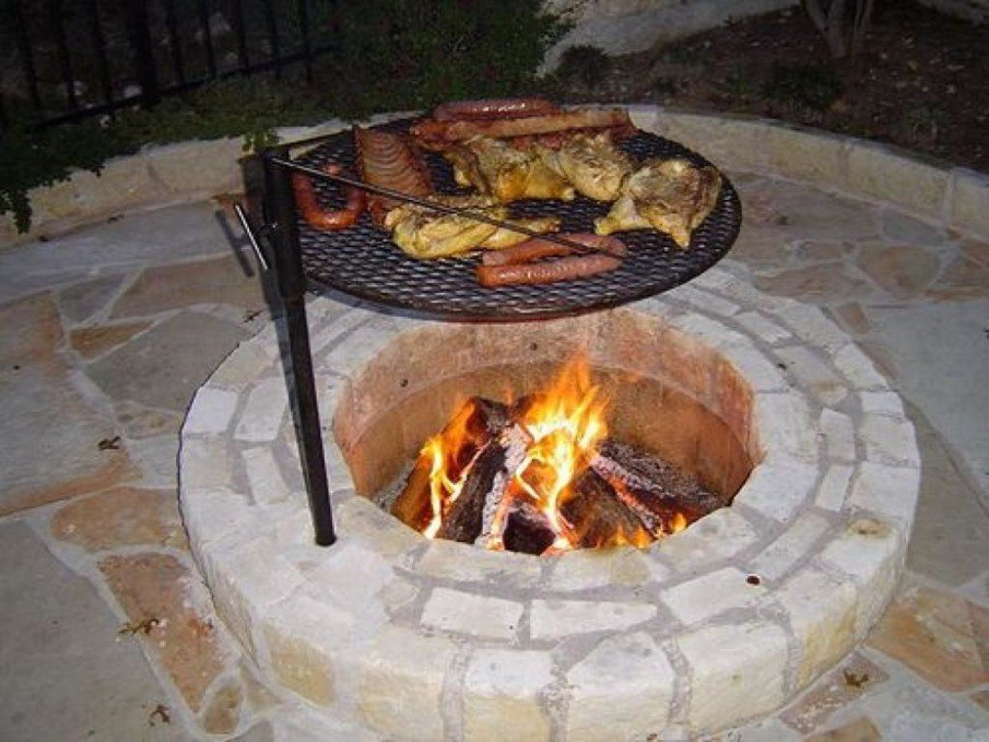 DIY BBQ firepit with metal grill