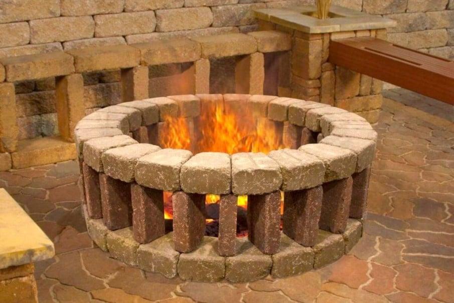 DIY brick clad firepit idea