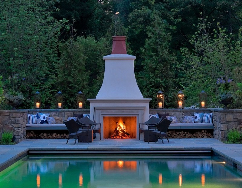 Elegant outdoor fireplace design for patio