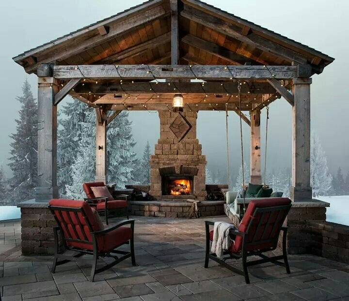 40 Best Patio Designs With Pergola And Fireplace Covered Outdoor Living Space Ideas
