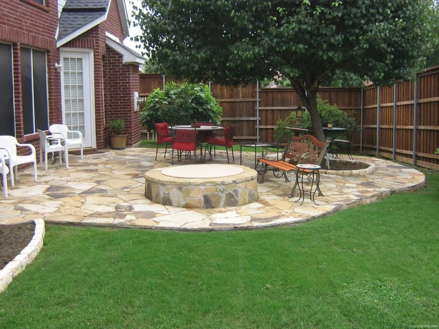 Flagstone patio and fire pit ideas