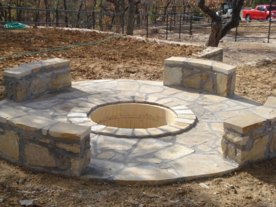Flagstone patio and fire pit seating ideas