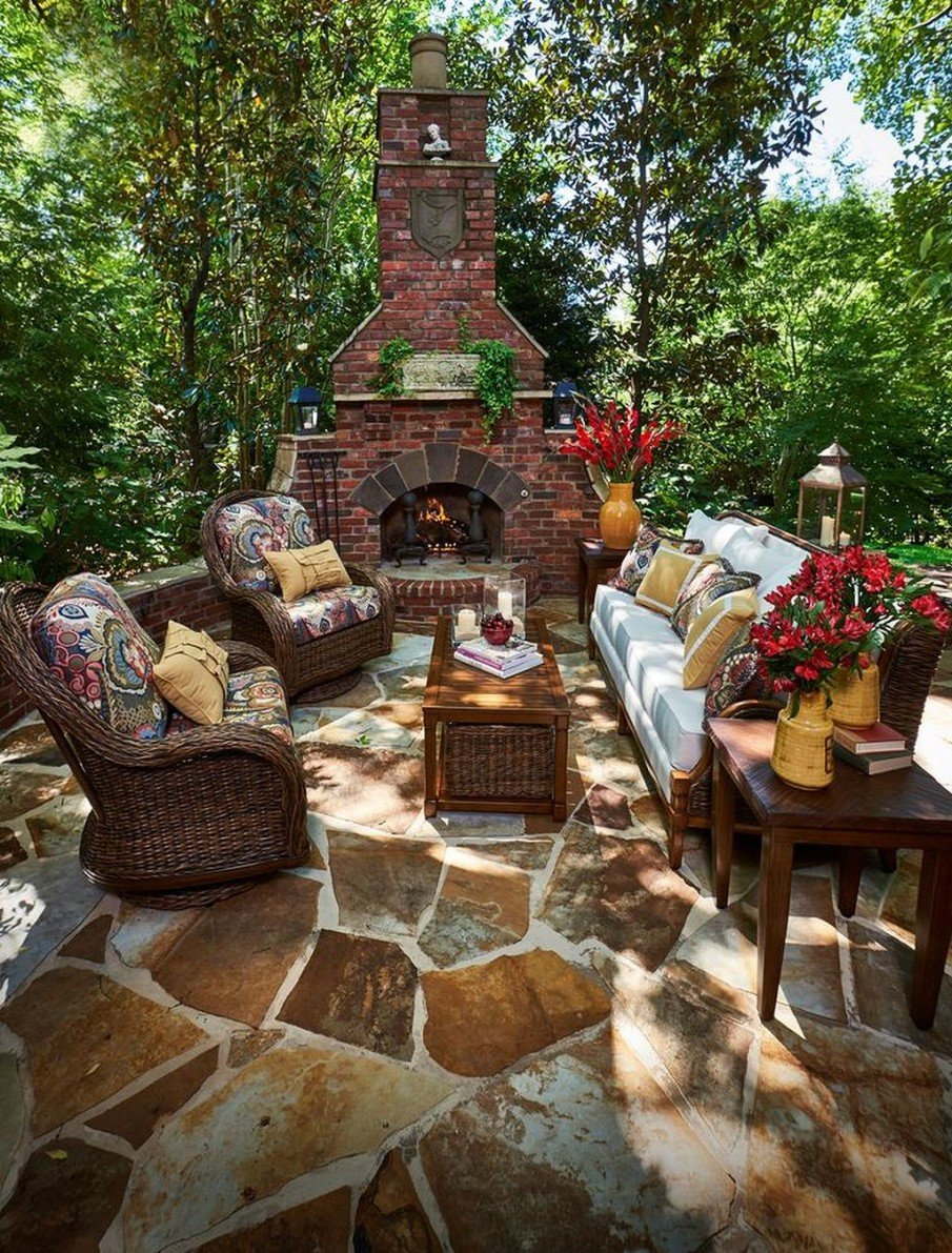 Gorgeous flagstone patio with fireplace designs