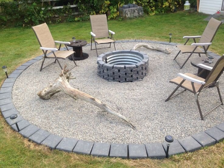 Inexpensive brick and gravel fire pit setting
