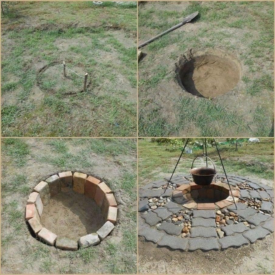 Inground DIY brick fire pit design