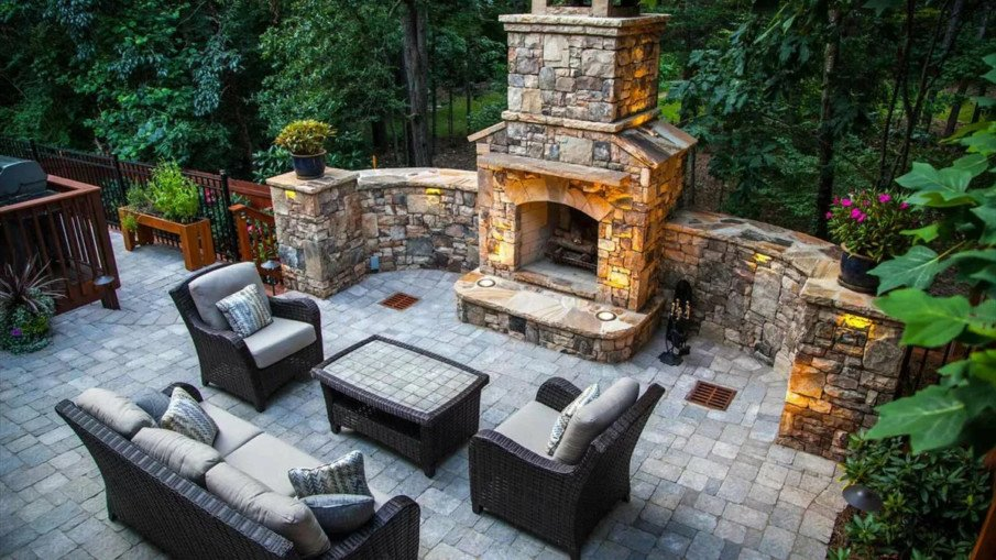 Interesting fireplace design for large patio