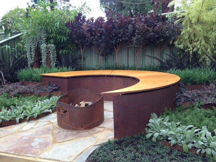Modern metal fire pit seating area idea