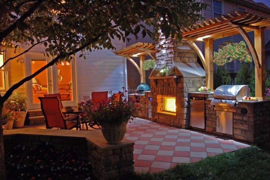Patio designs with decorative pergola and fireplace