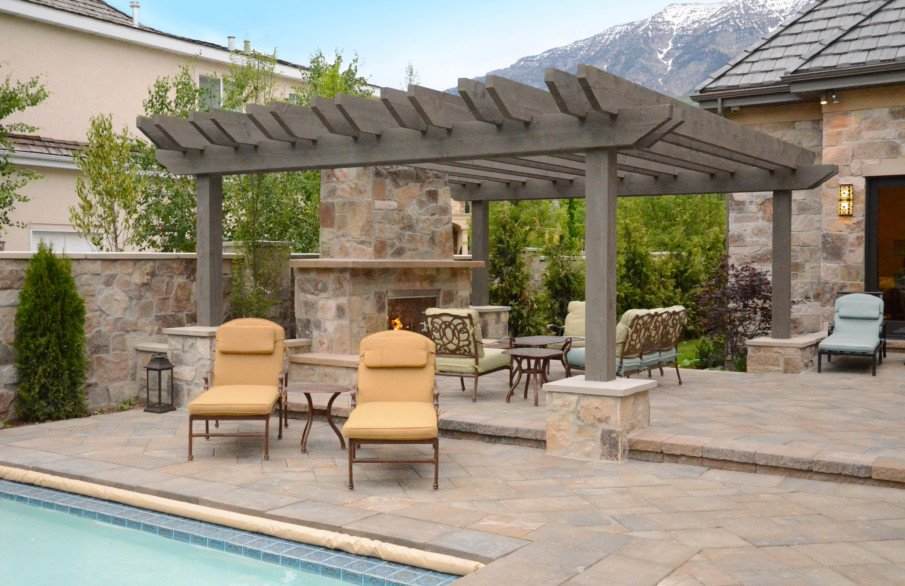 Patio designs with pergola and fireplace