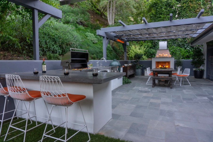 Patio designs with shade pergola and fireplace