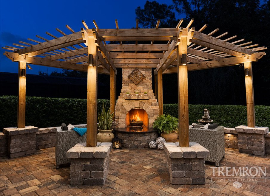 Patio with hexagon pergola and fireplace ideas