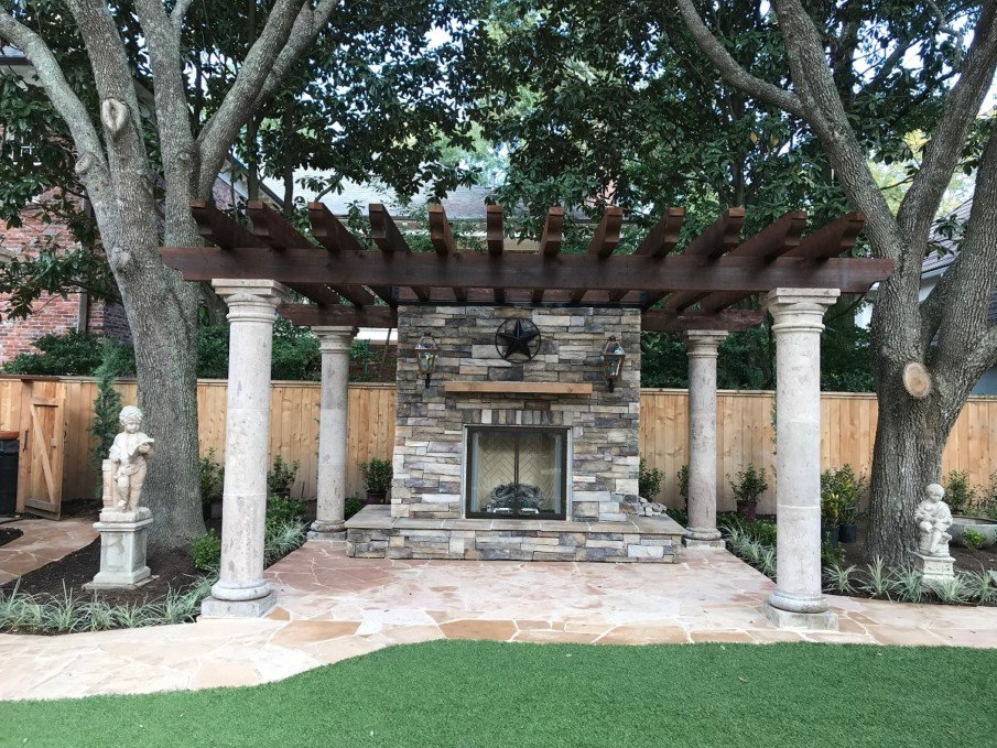Patio with simple pergola and fireplace idea