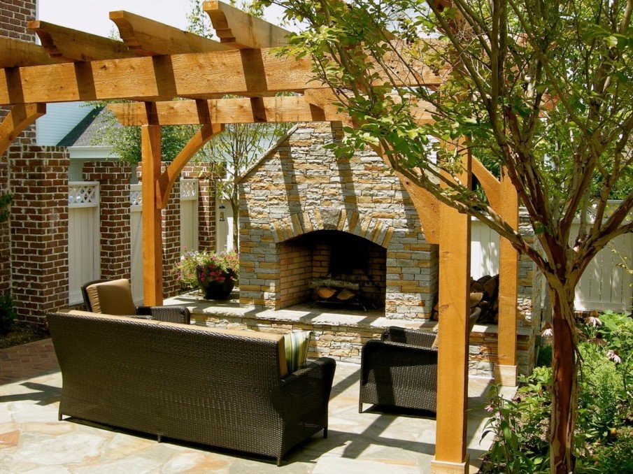 Patio with simple pergola and fireplace ideas