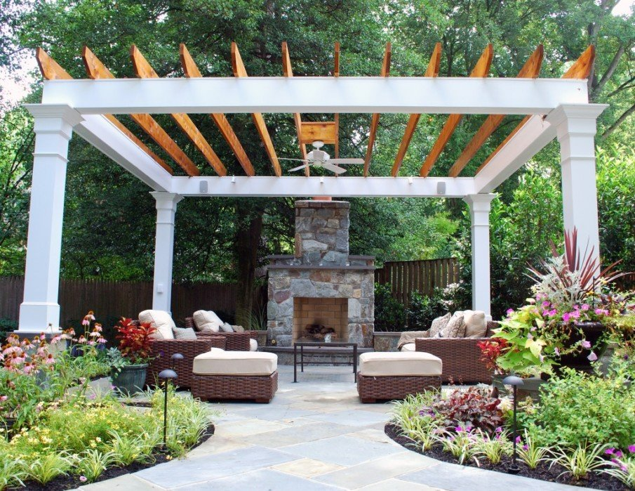 Unusual patio design with pergola and fireplace