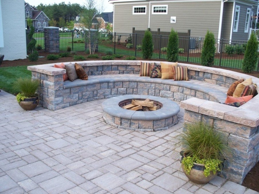 Paver stone circular fire pit are ideas