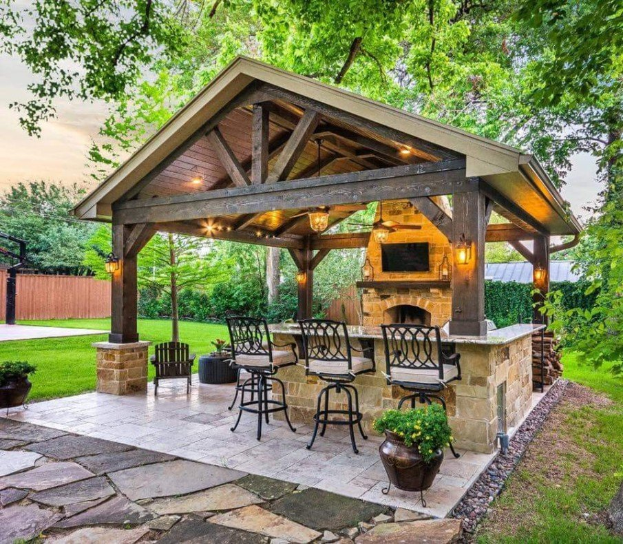 40 Best Patio Designs with Pergola and Fireplace - Covered ... on Small Outdoor Covered Patio Ideas id=27043