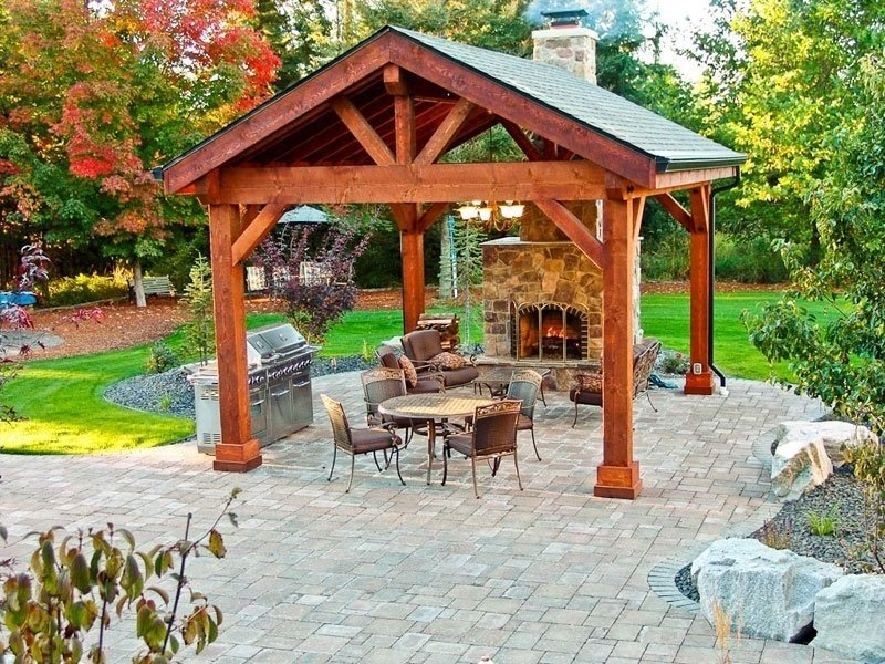Roof pergola patio with fireplace
