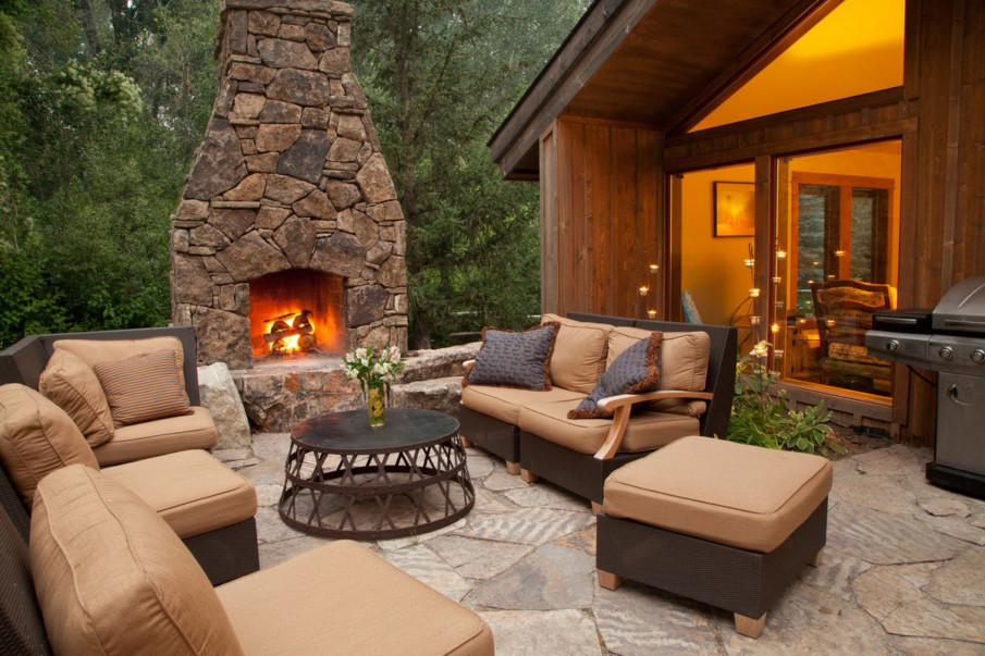 Rustic patio fireplace ideas