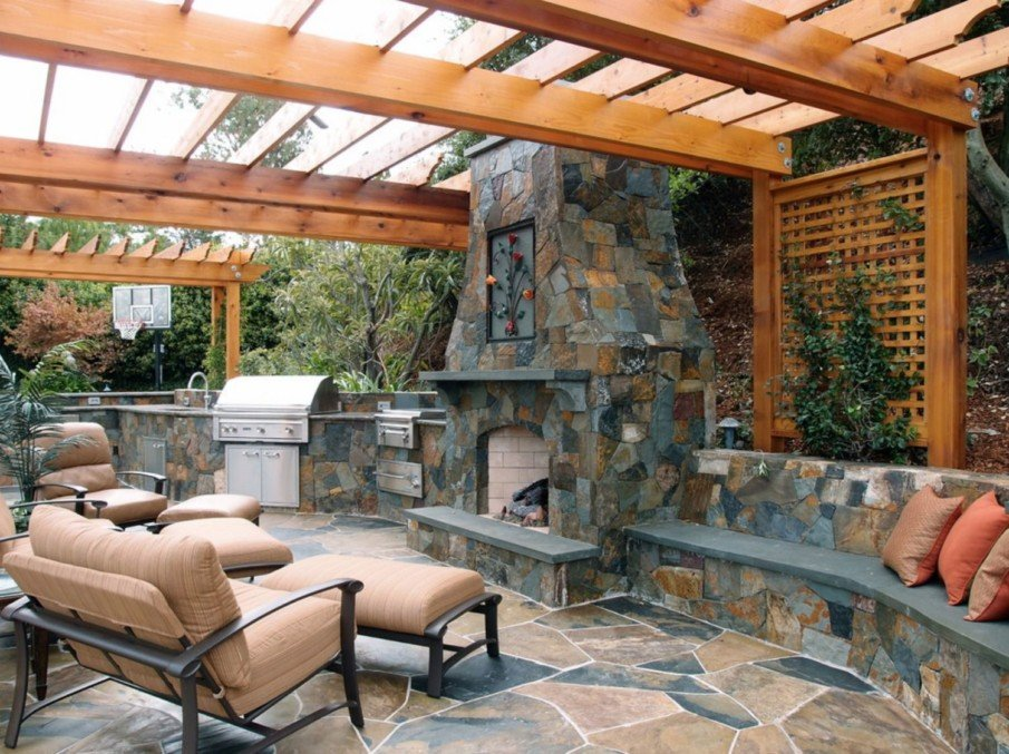 Slate fireplace idea for patio