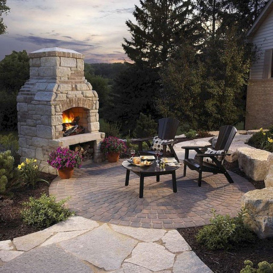 Small circular patio design cool fireplace