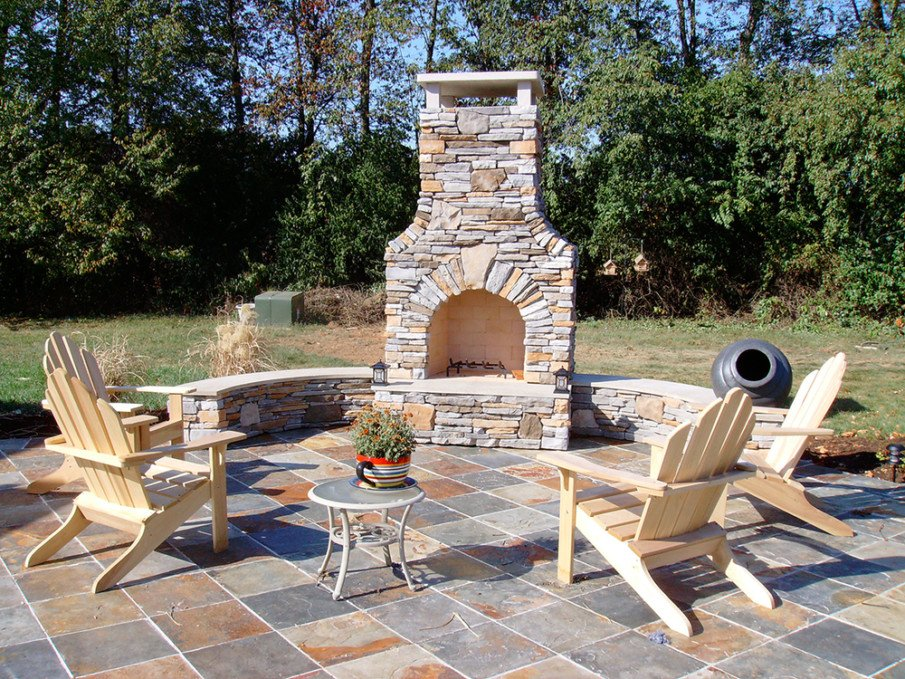 Small patio with fireplace ideas