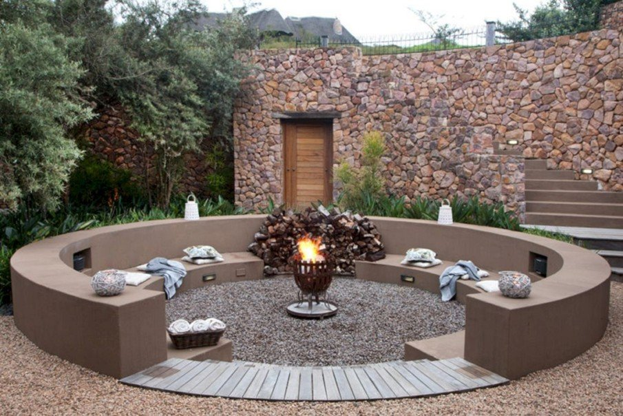 Solid concrete circular fire pit area idea