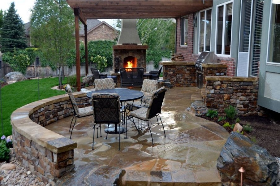 Suburban fireplace and patio ideas