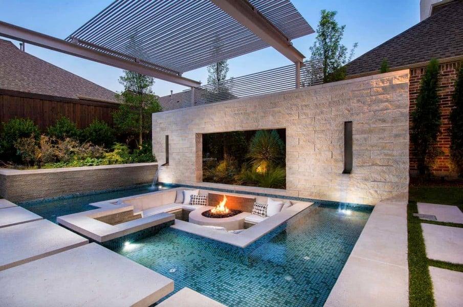 Sunken fire pit in pool idea