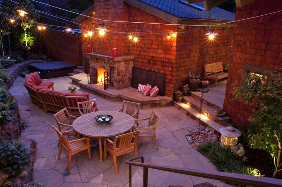 Traditional patio with fireplace designs