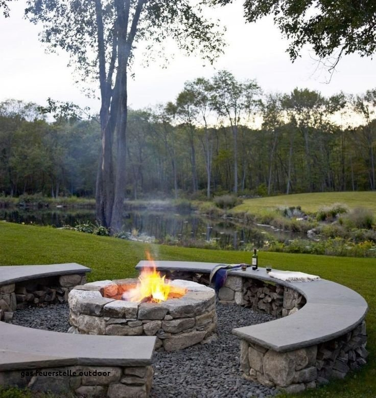 Two half circles fire pit seating area idea