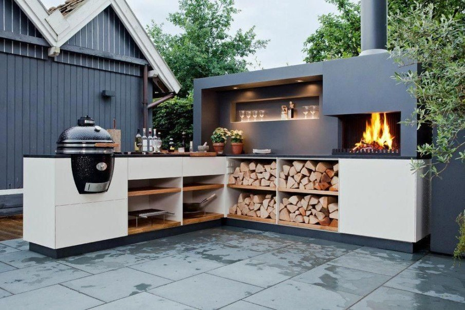 Awesome modern big green egg outdoor kitchen idea