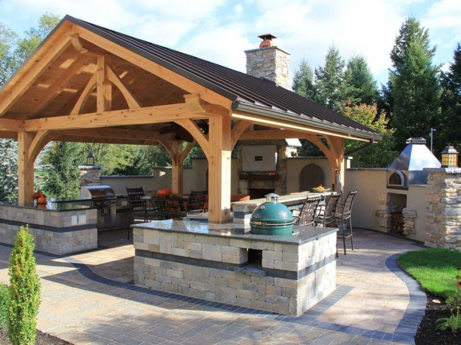 Backyard kitchen with pergola ideas