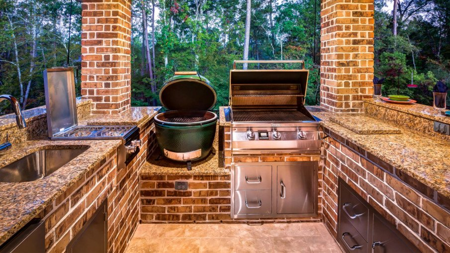Big green egg brick outdoor kitchen ideas