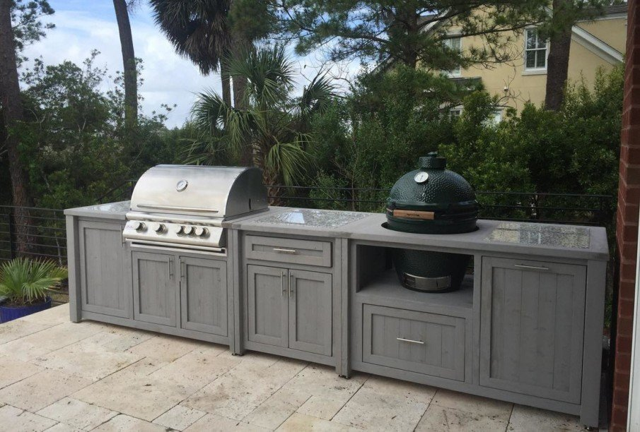 Big green egg outdoor kitchen design in grey