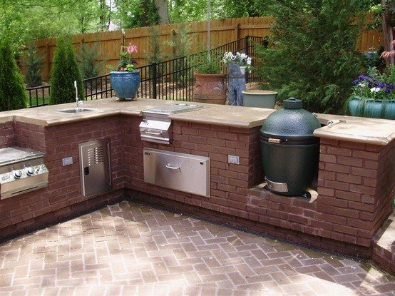 Big green egg outdoor kitchen in brick