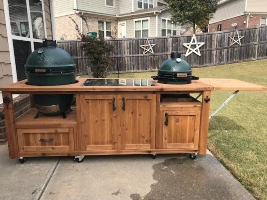 Big green egg outdoor kitchen island with 2 grills design