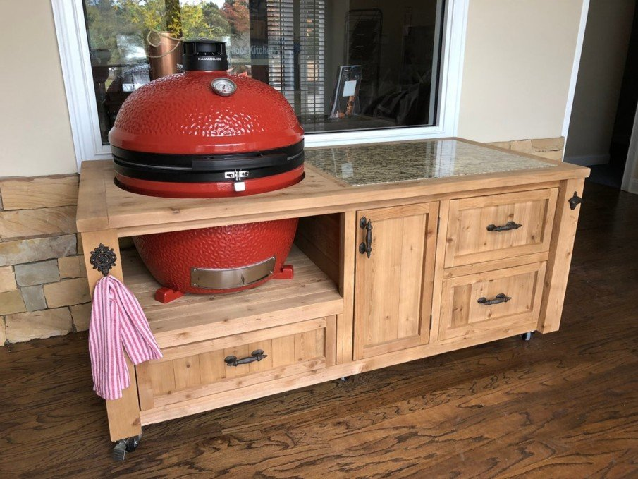 Big green egg outdoor kitchen island