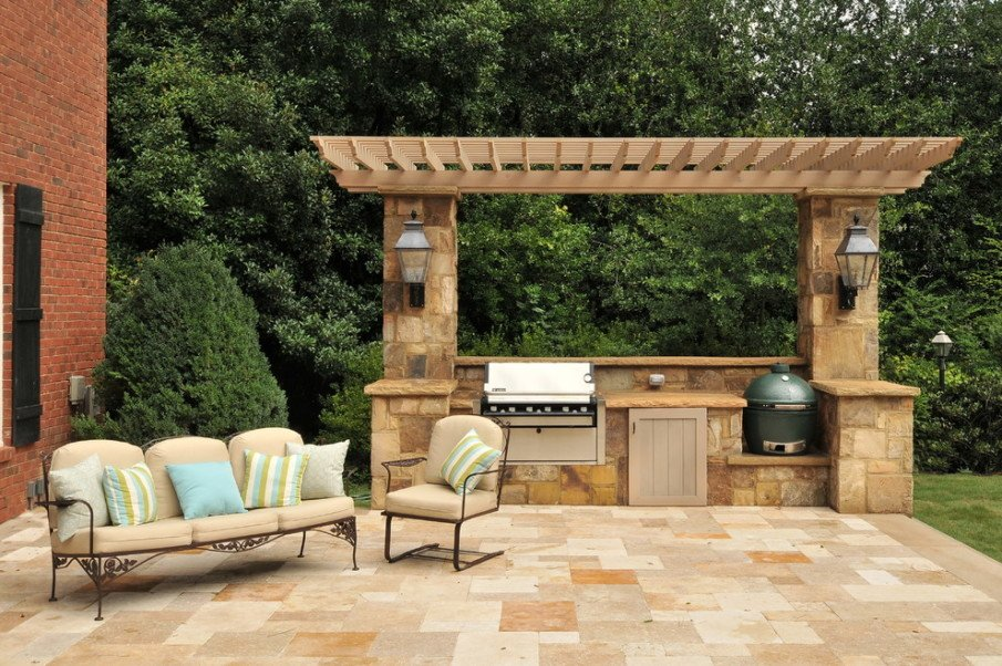 Big green outdoor kitchen with pergola