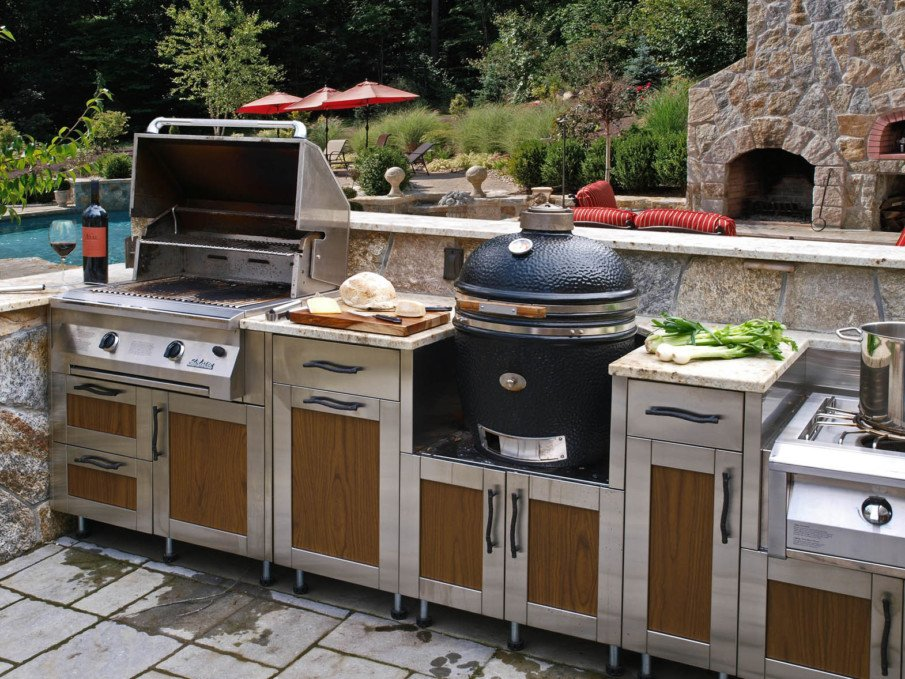 Green egg outdoor metal kitchen idea