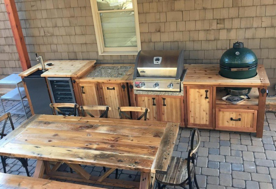 Big green egg outdoor wood kitchen island