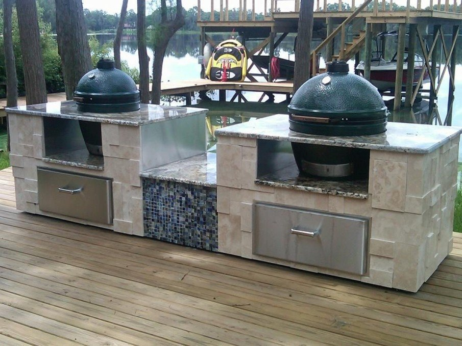 Built in big green egg grill outdoor kitchen island design