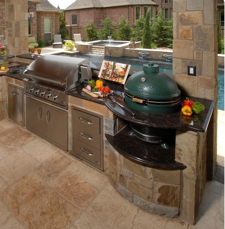 Cool built in green egg outdoor kitchen
