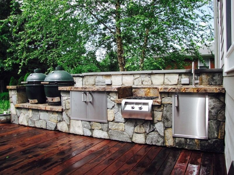 Double big green egg grill outdoor kitchen idea