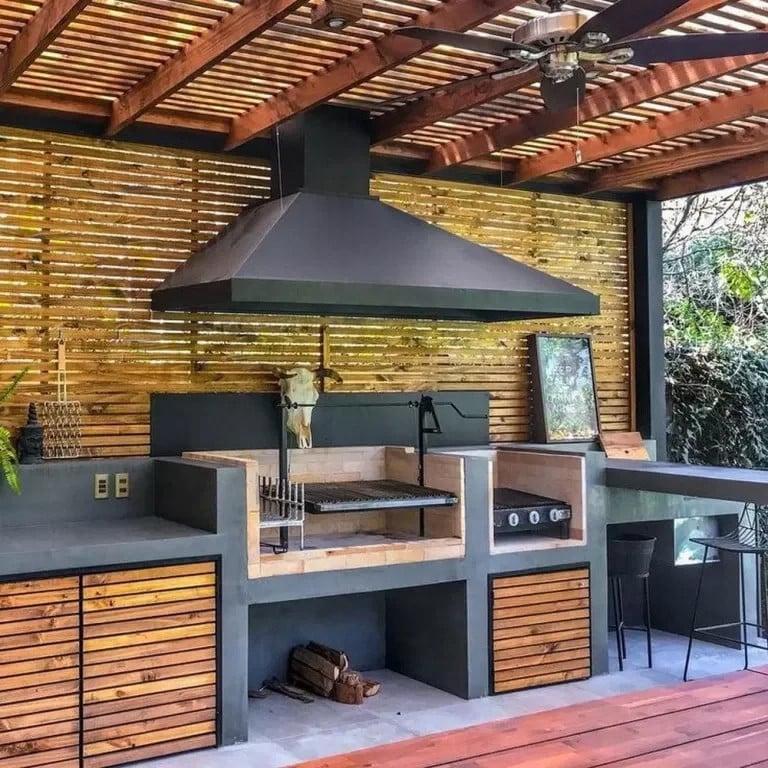 Enclosed pergola outdoor kitchen ideas