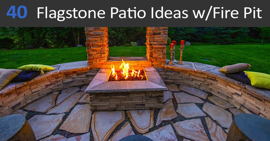40 best flagstone patio ideas with fire pit, for hardscape designs