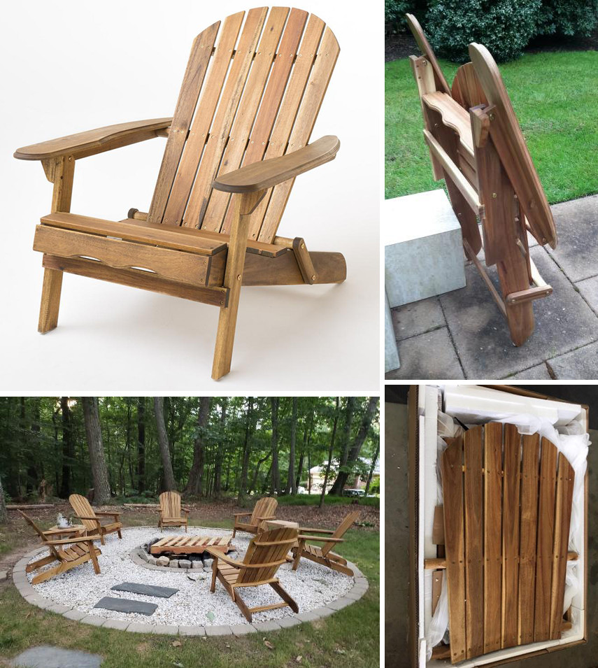 Folding wood Adirondack chair DIY assembly kit from Home Depot